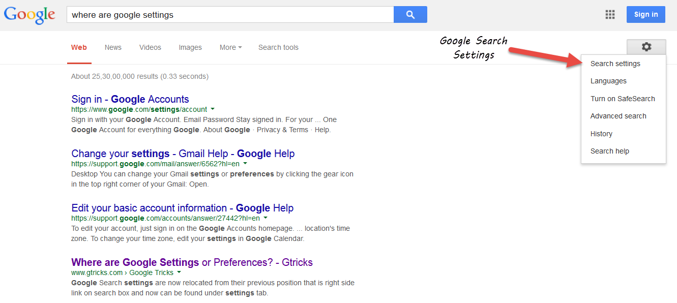 how to change search settings on google