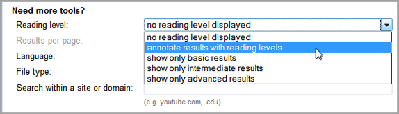 Google Advance Search Reading Tool