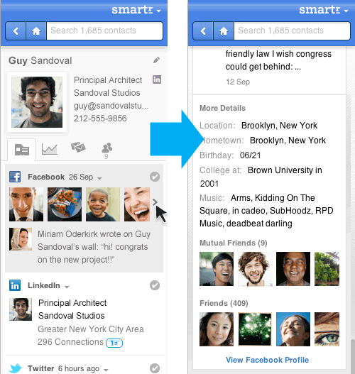 Inbox contacts with full information