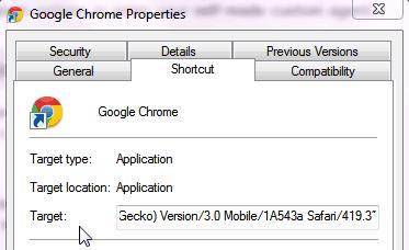 Google Chrome Properties box