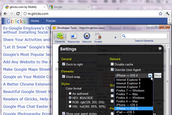 Developer tool in Chrome canary