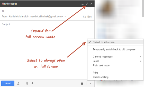 how to compose big in gmail