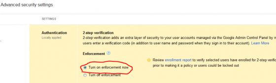 Google Apps Enable 2 Step Verification