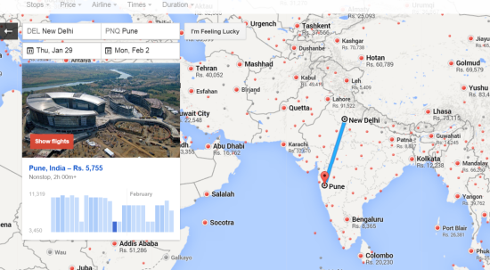 Google Flight Search in India