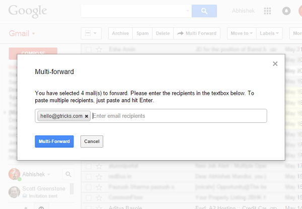 Gmail forward box select recipients