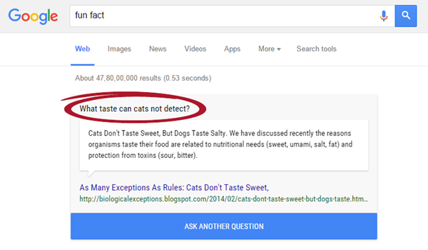 Google shows an interesting tid bit