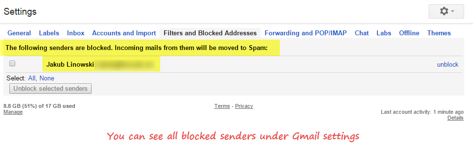 blocked senders list in gmail settings