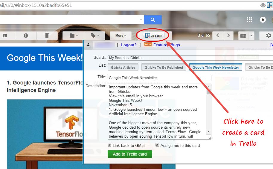 GMail to Trello Chrome extension