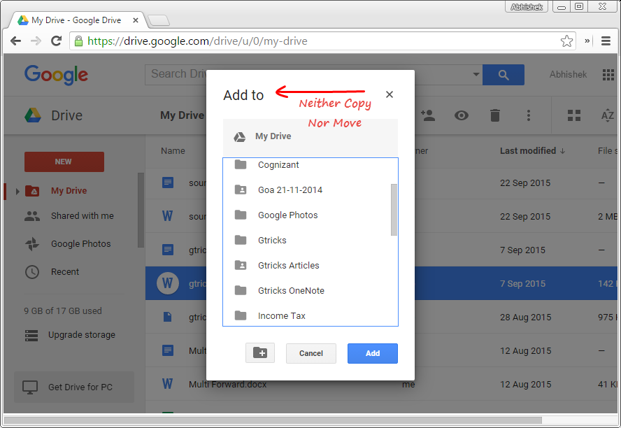 Add to Window in Google Drive