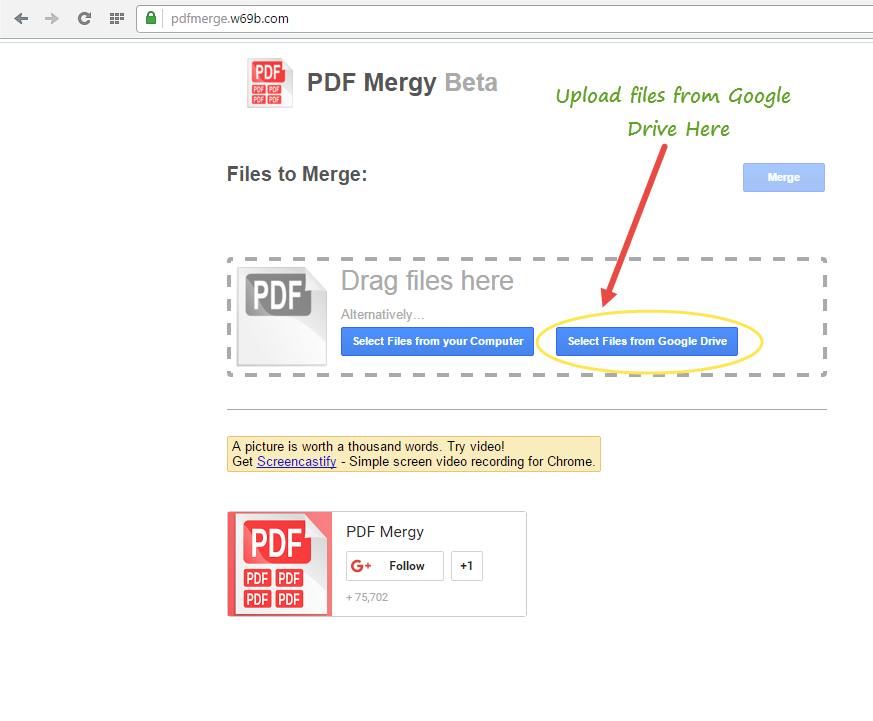 Upload files from Google Drive