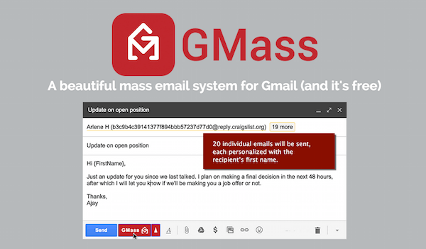Sending personalized mails on Gmail