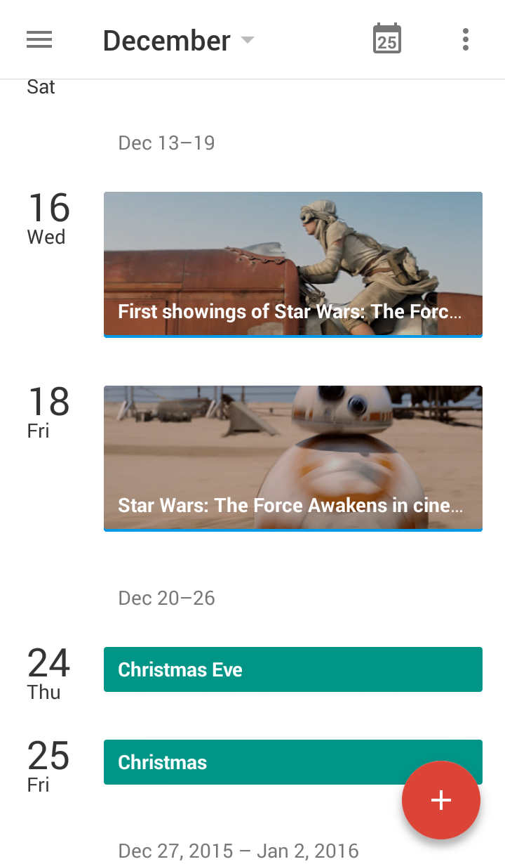 Star Wars events in Google Calendar
