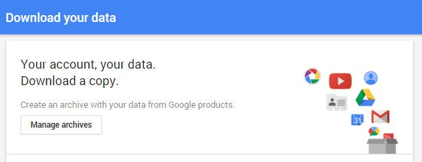 Download your Google data