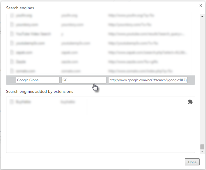Chrome Add Search Engine