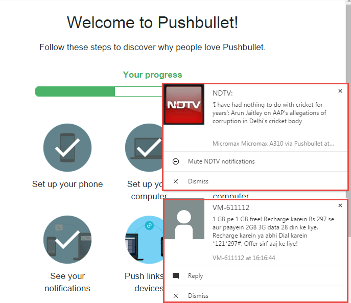 PushBullet android notifications