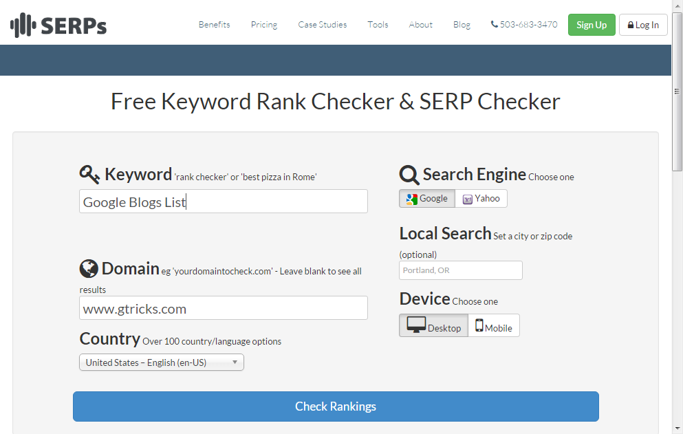 SERPs search results ranking