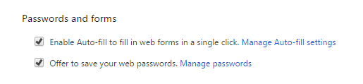 Passwords and forms Chrome