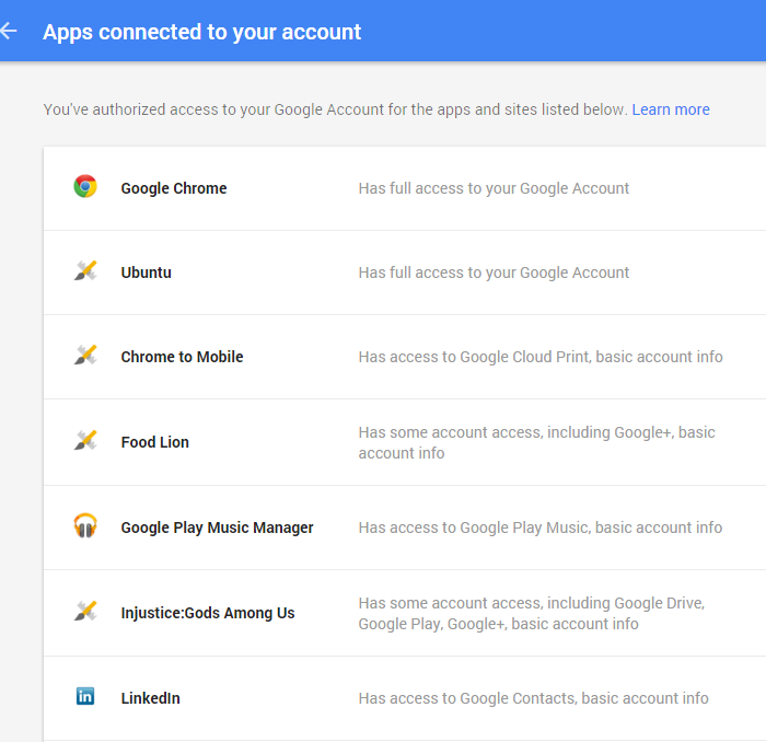 apps using Google account