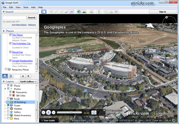 Google Head Quarter in Earth View Map