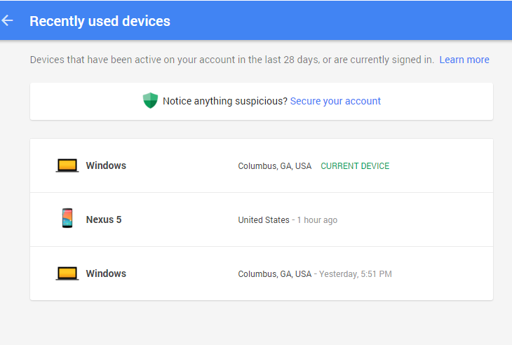 devices using Google account