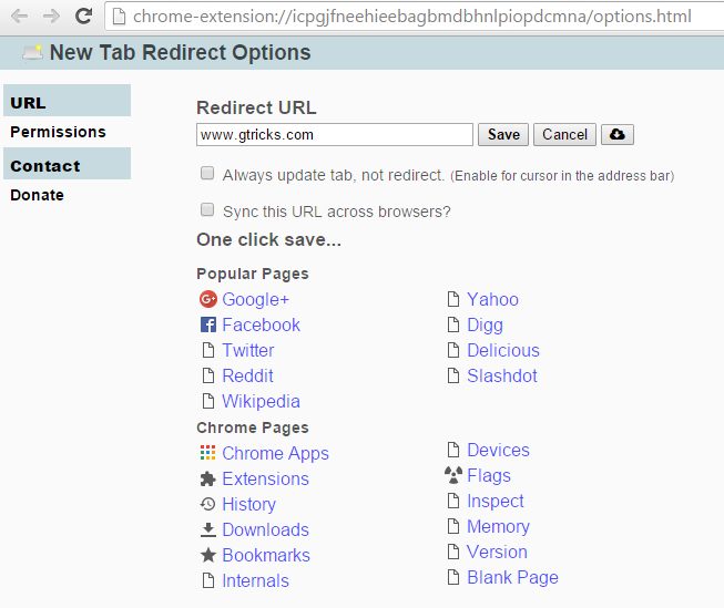 New tab redirect options
