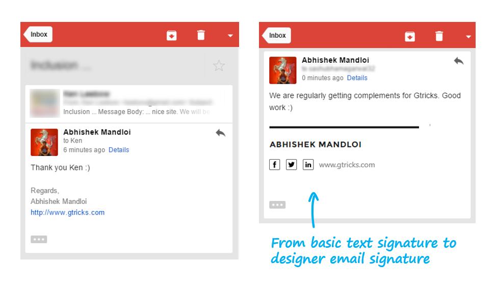 designer email signature in gmail