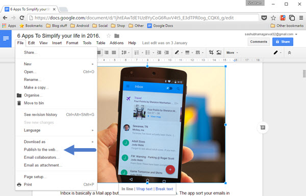 Publish Google Doc to Web