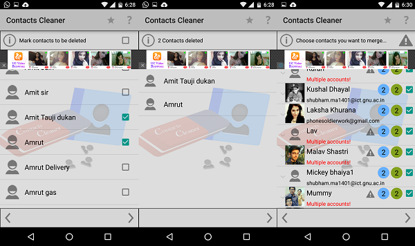 erasing multiple contacts
