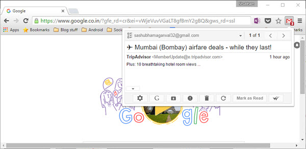 gmail notifier in action