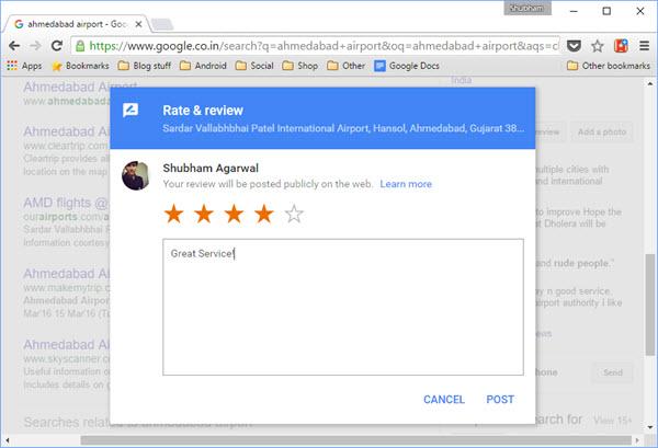 Google review on Desktop