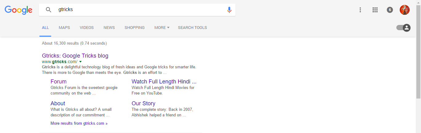 Google Search Page with Material Design