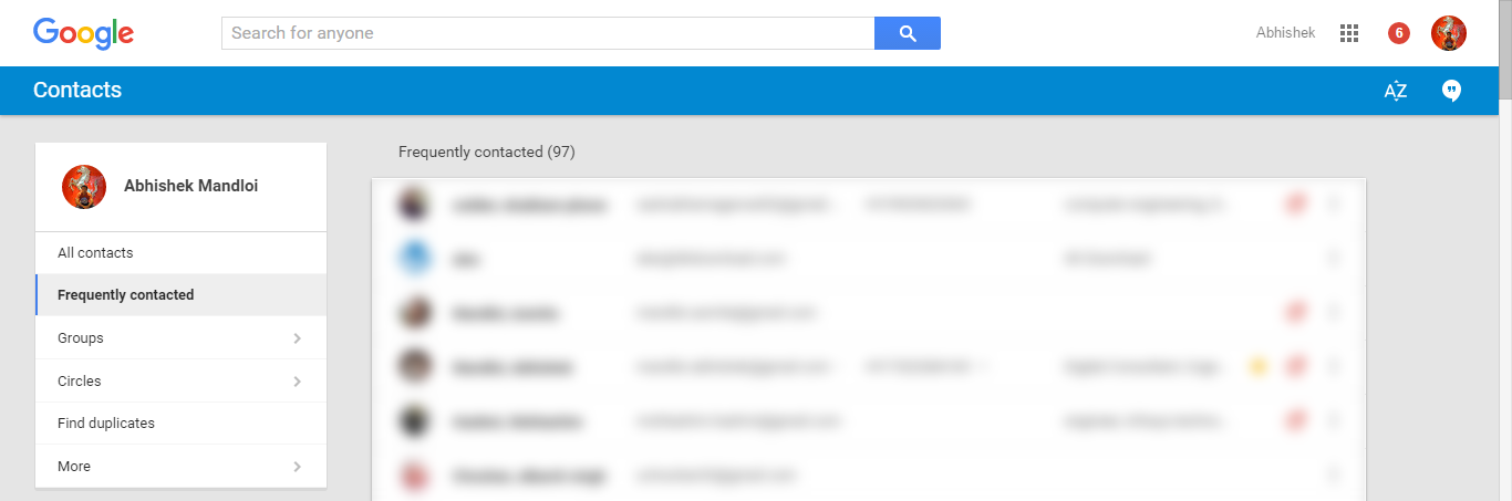 Current Google Contacts Page Design