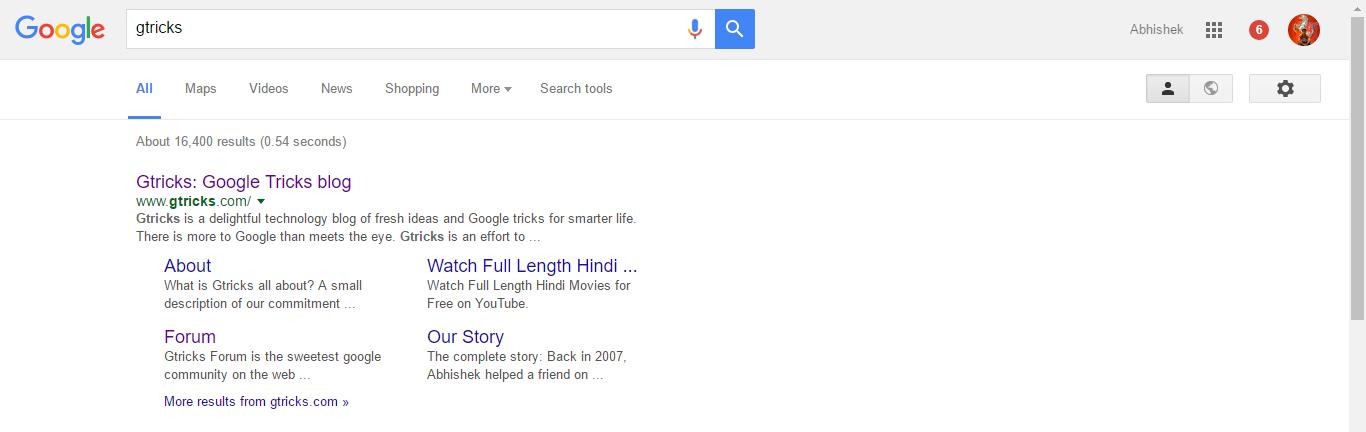 Google Search Page Design