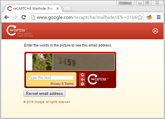 Url that reveals your email address after the user solves a recaptcha
