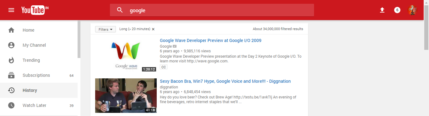 Youtube with Material design