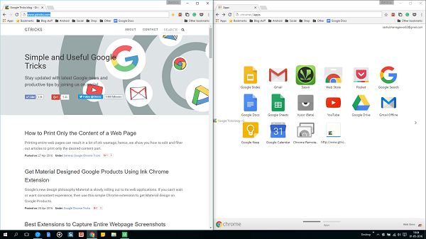 Chrome apps and Gtricks site side by side