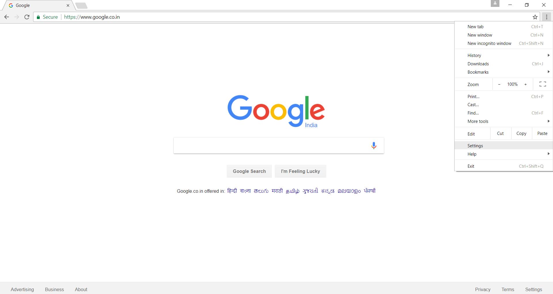 Google chrome home page shortcut - Step 2