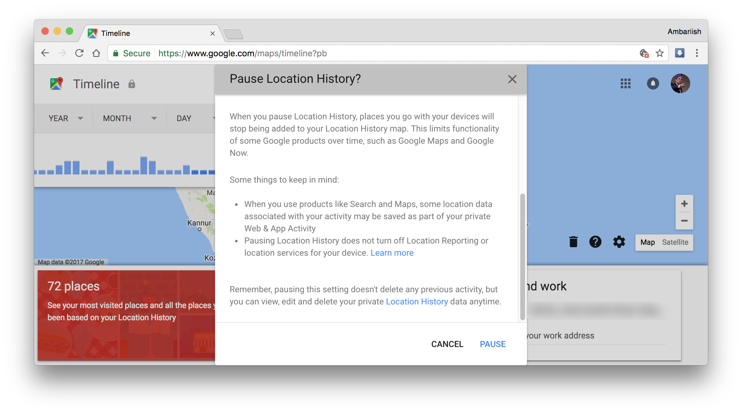 manage you location history