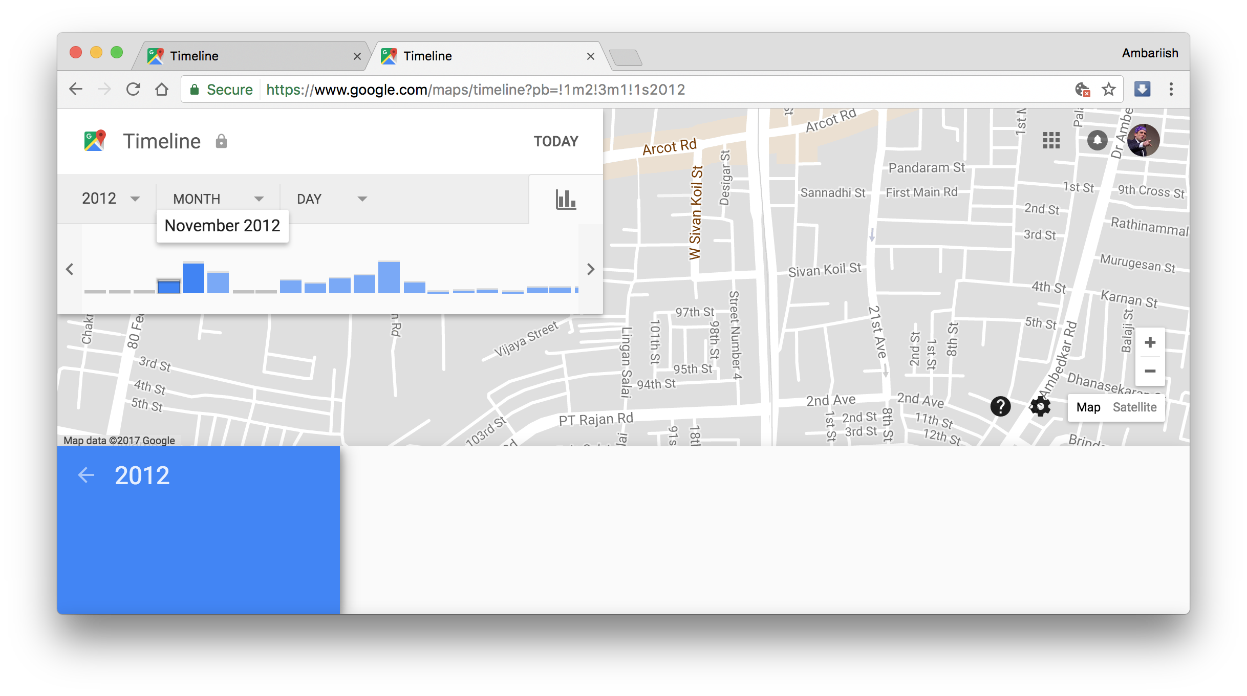 Timeline history since 2012 Manage your location history