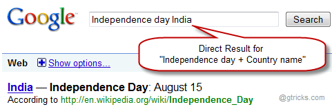 Google Independence day result