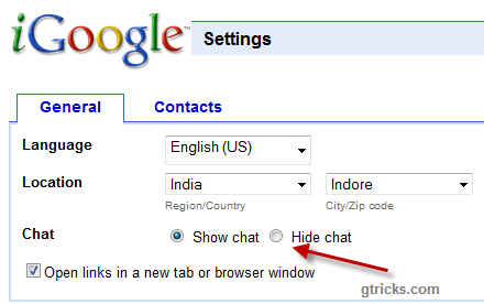 igoogle settings