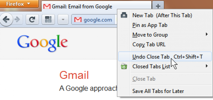 Firefox - Reopen closed Tabs