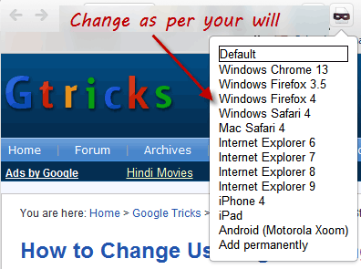 user agent switcher chrome extension