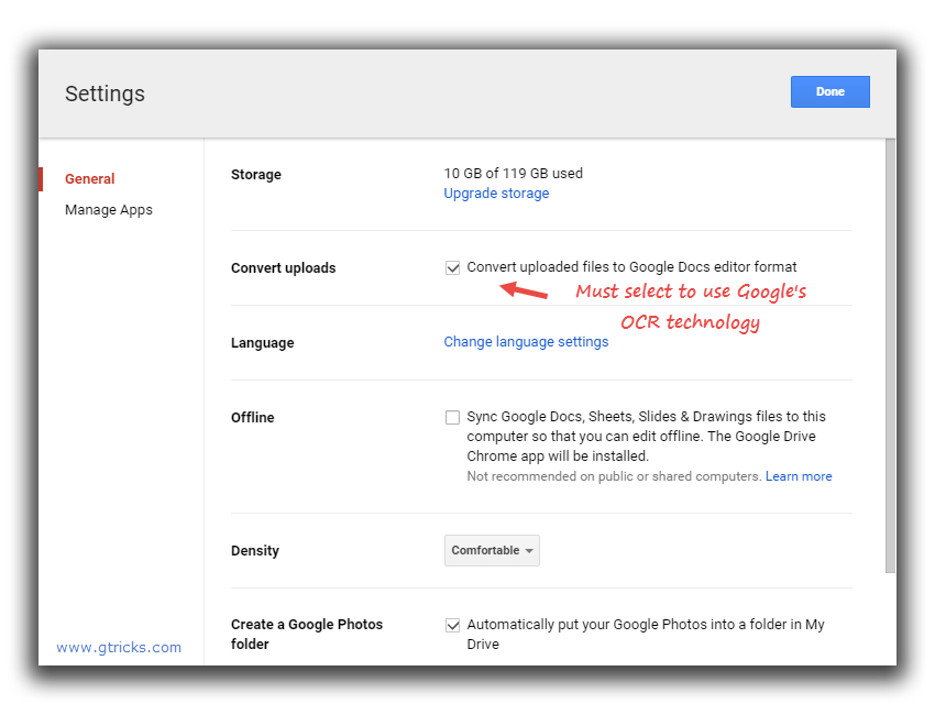 Settings in Google Drive