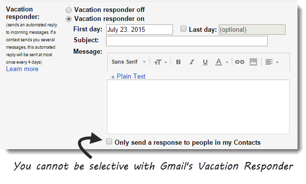 Gmail vacation responder replies to everyone be default