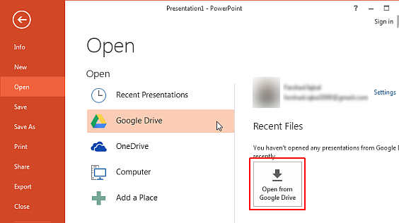 google drive in powerpoint