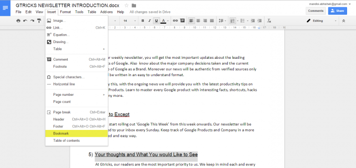 bookmark in google docs