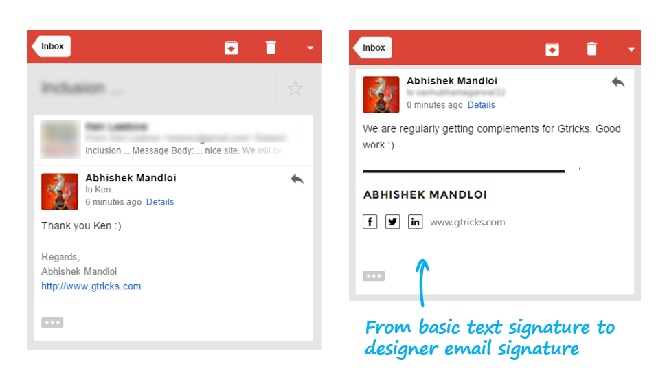 What does a professional email signature look like