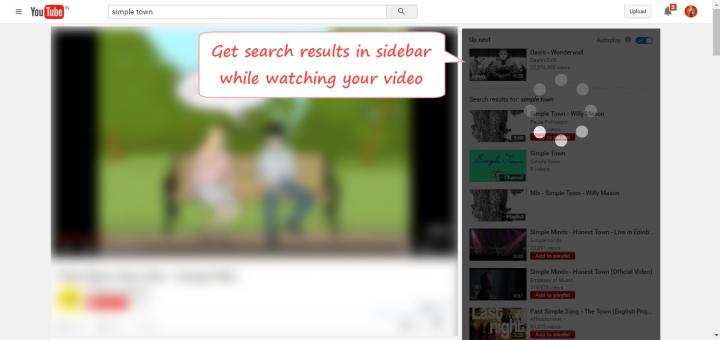 Sidebar search in YouTube