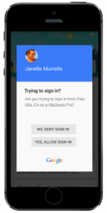 Google prompt for second step verification